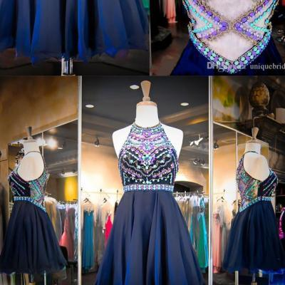 Prom Dress,Crystal Beaded Homecoming Dress,Halter Prom Gown