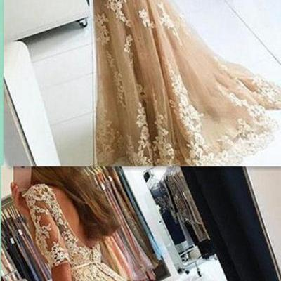 Charming Prom Dress,Long Evening Dress, Mermaid Lace Evening Dresses,Formal Gowns