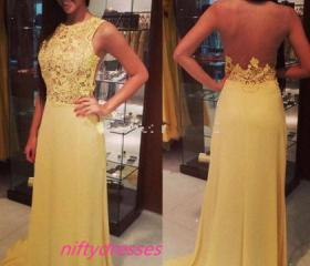 Yellow Lace Prom Dr..