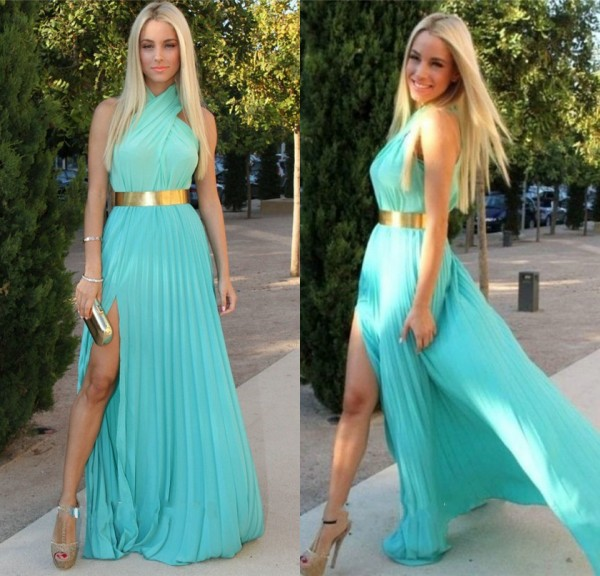 new arrival charming chiffon with gold belt prom dress