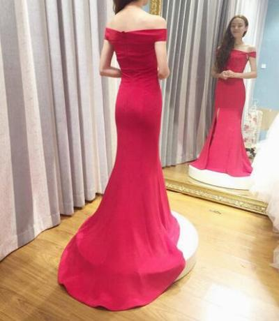 New Arrival Prom Dress,Mermaid Prom Dresses,Red Prom Dress, Simple Evening Dress with Slit,Long Prom Dress