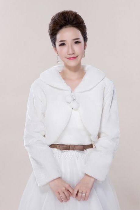 2015 Elegant White Fur Coat Wedding Small Cotton Padded Jacket Faux Fur Stoles