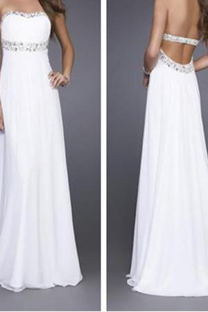 Backless Prom Dress,Long Prom Dress,White Prom Dress,Sexy Prom Dress,2016 Prom Dress