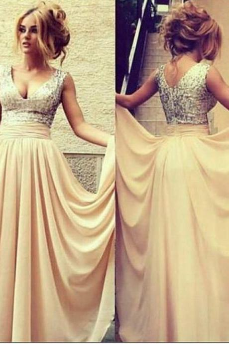 V Neck Prom Dresses Pleated A-Line Custom Made Long Chiffon Formal Dresses Gowns