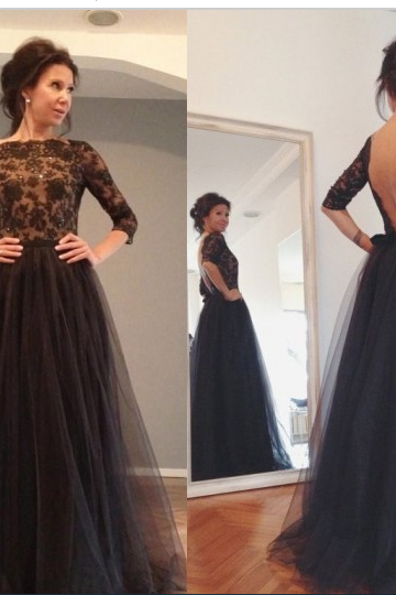 New Arrival Evening Dress,Black Evening Dress,Three Quarter Evening Dress,Tulle Lace Evening Dress