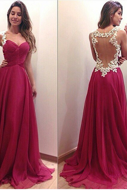 New Arrival Sexy Evening Dress Satin Backlesss Pleated Sweep Train Prom Gown Prom Dress
