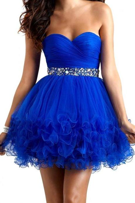 2016 Prom Dress,Blue Prom Gown,Pleated Tulle Homecoming Dress,Mini Short Homecoming Dress,Beading Homecoming Dress