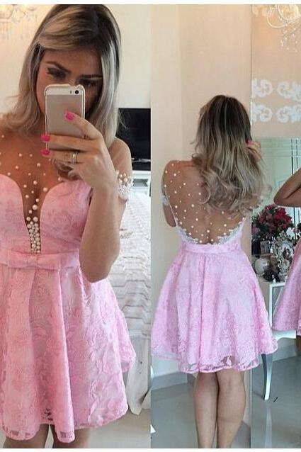New Arrival Short Sleeve Prom Dress,Pink Prom Dress,Charming Prom Dress,Lovely Prom Dress