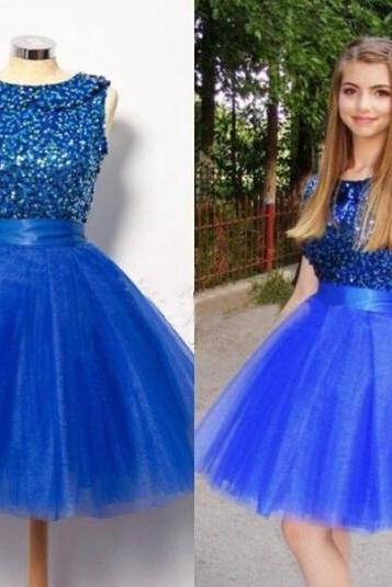 2016 New Arrival Charming Homecoming Dress,Tulle Prom Dress,Beading Homecoming Dress,Blue Homecoming Dress,Short Homecoming Dress