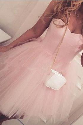Cute Pink Prom Dress,Short Prom Dress,Tulle Homecoming Dress,Sweetheart Prom Dress,Sweet 16 Party Dress,Graduation Dress