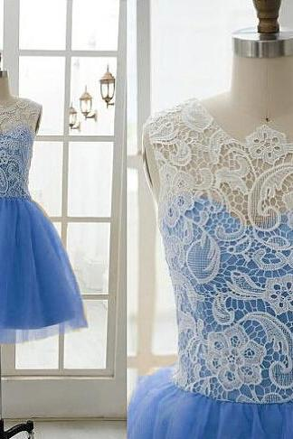 Custom Made Cute Short Prom Dresses,Tulle Homecoming Dress,Blue Party Dress,Sweetheart Prom Dress,Applique Prom Dress