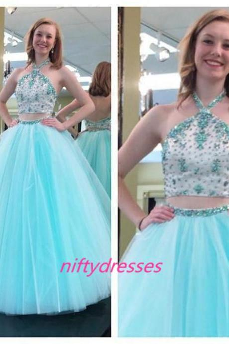 Two Pieces Prom Dresses ,2016 Sexy Crystals Ball Gowns ,Sky Light Blue Tulle Long Backless Evening Dresses, Tulle Evening Party Gown,Halter Prom Dresses,