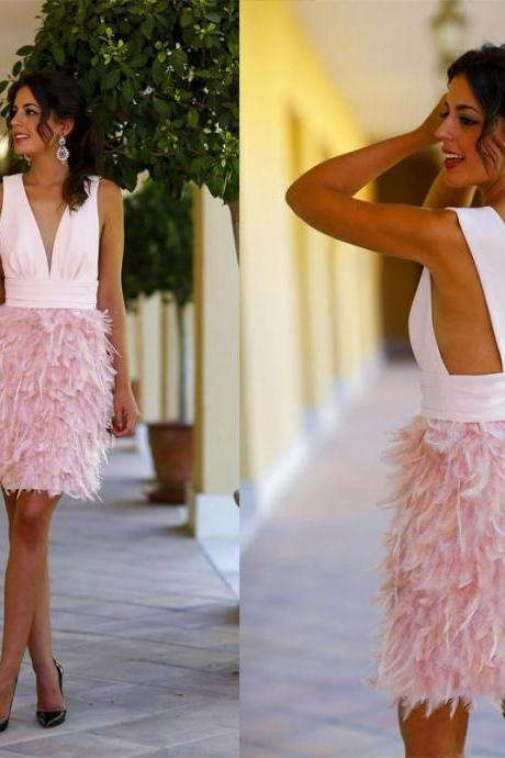 New Arrival Sexy V Neck Pink Feather Cocktail Dresses, Deep V Party Dress ,Knee Length Short Prom Dreses