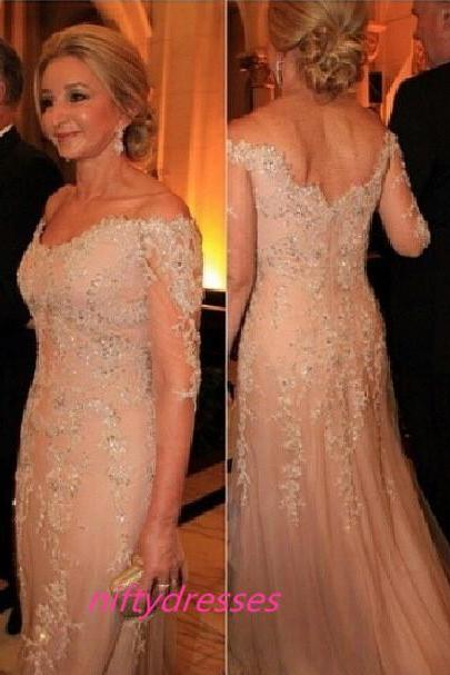 Pink Tulle Appliques Lace Mother of the Bride Dresses 2016 New Style Sexy Three Quarter Long Evening Dress