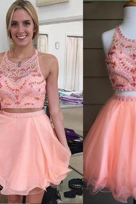 2016 Short Tulle Two Piece Prom Dresses for Teens,Pink Party Dresses,Rhinestone Party Gown,Ruffles Prom Dresses