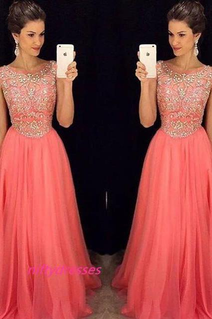 Charming Prom Dress,Long Coral Prom Dresses, Elegant Scoop Beaded Evening Formal Gowns Party Dress
