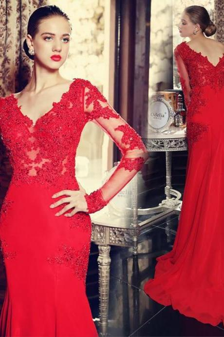 Elegant Red Mermaid Evening Dress, Long Sleeve Evening Dress, Lace Evening Dress,Formal Party Dresses, V Neck Prom Dress,