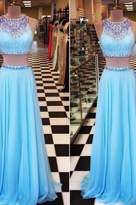 Light Blue Prom Dress,Two Piece Prom Dresses, Chiffon Prom Dress,Rhinestones Prom Dresses,Beaded Evening Dress,Party Dress,2 Piece Prom Dresses