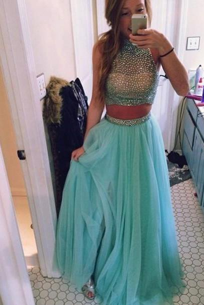 Two Piece Prom Dresses, Amazing Beads Evening Gown,High Neck Tulle Evening Dresses,Floor Length Party Gowns,A Line Party Dress,Blue Homecoming Dresses