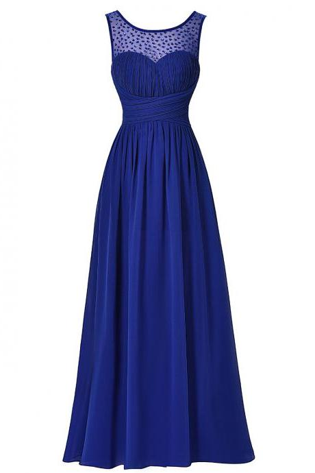 Elegant Long Royal Blue Prom Dress 2016,Sexy Sleeveless Prom Dresses, V Back Wedding Party Dress,Beaded Chiffon Bridesmaid Dresses Prom Gowns