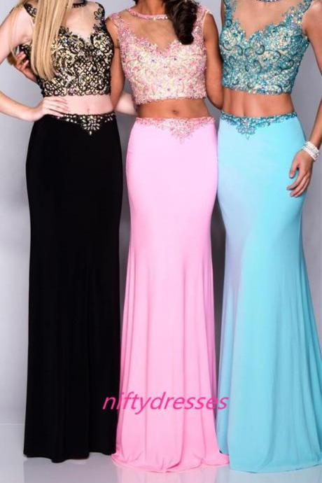 Charming Scoop Prom Dresses,Two Piece Prom Dress,Sexy Meimaid Backless Party Prom Dresses,Beading Prom Gown,Floor Length Evening Dresses,See Though Prom Dresses