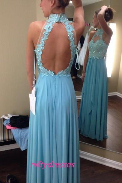 New Arrival Elegant Backless Evening Dresses,Long Beaded Wedding Party Dress,Blue Chiffon Prom Dresses,Sexy Prom Gowns,Prom Dresses 2016