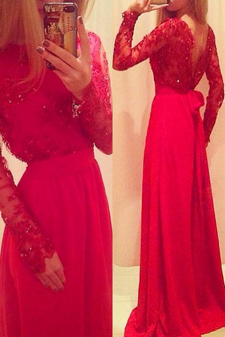 A-Line O-Neck Party Dresses,Sexy Formal Gown,Satin Tulle Prom Dresses,Full Sleeve Long Red Lace Evening Dresses,Prom Dresses 2016