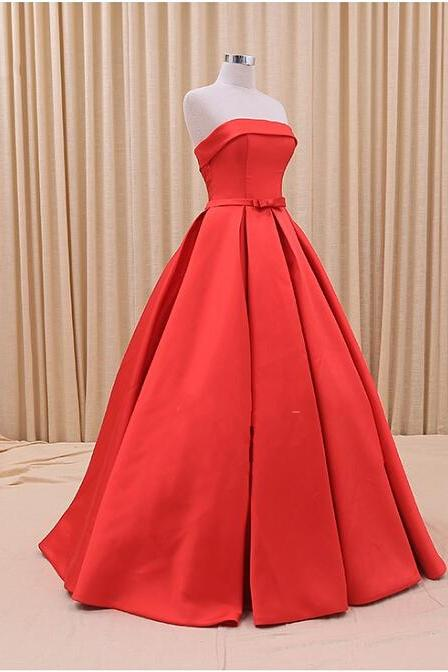 Charming Red Strapless Prom Dresses,Backless Off the Shoulder Formal Evening Dresses Ball Gown Satin Floor Length Homecoming Dresses