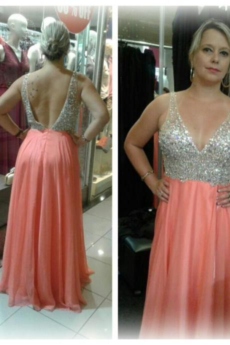 Sexy V-Neck Backless Prom Dress,Tank Sleeveless Sequined Formal Evening Dress,Long Chiffon Prom Gown,Custom Made Women Dress