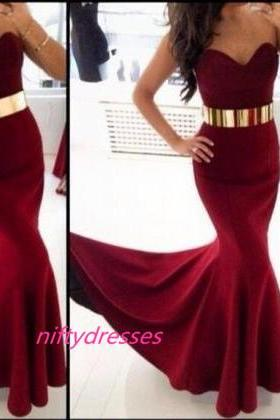 Burgundy Satin Mermaid Prom Dress with Belt,Burgundy Prom Gown,Women Formal Dress,Sweetheart Prom Dress
