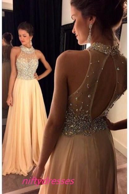 Halter Beaded Long Prom Dresses,Open Back Evening Dresses,Chiffon Prom Dress,A-line Party Prom Dresses