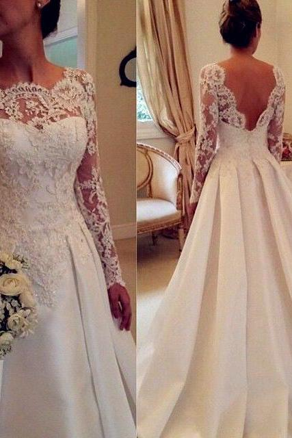 Long Sleeve Wedding Dresses,A-Line Lace Wedding Dresses,Backless Wedding Dress