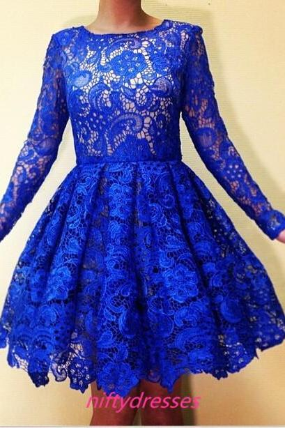 Royal Blue Homecoming Dresses,Long Sleeves Prom Dress,Short Special Occasion Party Dress,Lace Prom Dresses