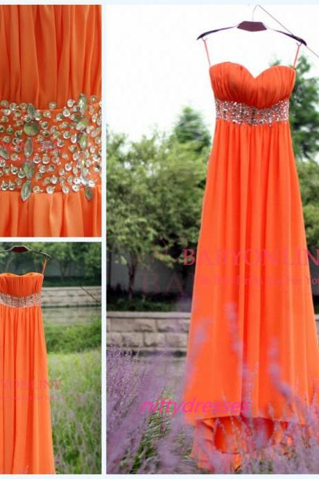 Custom Made Sweetheart A Line Prom Dress,Beaded Orange Chiffon Long Bridesmaid Dresses,Floor Length Wedding Party Dresses