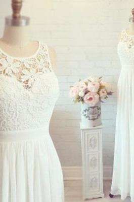 White Lace Chiffon Wedding Dress,Long Prom Dress,Lace Prom Gown,Formal Women Prom Dress,A Line Prom Dress