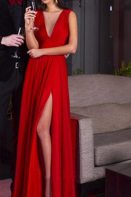 New Arrival High Slit Prom Dress,Deep V Neck Ruched Bodice Women Party Dress,Chiffon Prom Dress,Sexy Prom Dress
