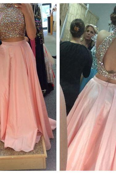 LJ38 Charming Prom Dress,2 Piece Prom Dress,Chiffon Prom Dress,Long Evening Dress,Long Prom Dress