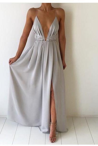 LJ54 Sexy Prom Dress,Deep V Neck Prom Dress,Chiffon Prom Dress,Long Prom Dress
