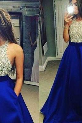 Royal Blue Satin Prom Dress,Halter Prom Dress,Long Evening Gown,Formal Dress