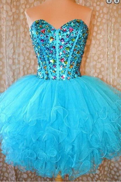 Blue Homecoming Dress,Short Homecoming Dress,Short Prom Dress,Ruffles Prom Gown