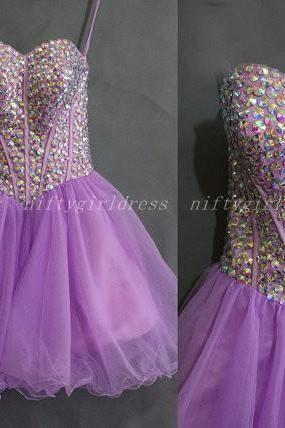 Short Prom Dress,Tulle Homecoming Dress,Purple Homecoming Dress,Crystal Homecoming Dress