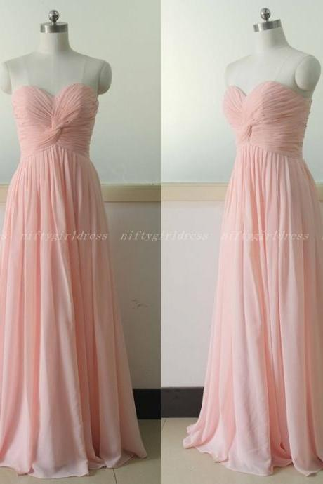 Pink Prom Dress,Long Chiffon Prom Dress,Evening Dress,Women Formal Dress