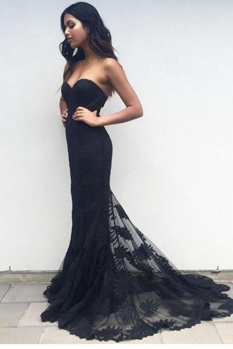 New Arrival Black Sweetheart Neck Prom Dress,Long Prom Dresses,Mermaid Prom Dress