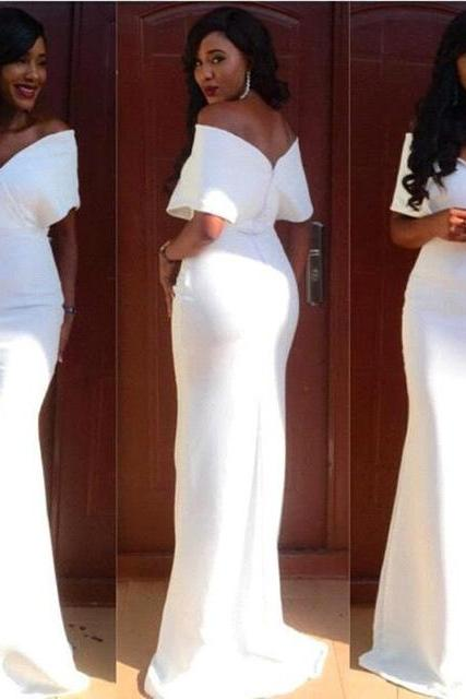 Elegant White Long Mermaid Prom Dress Off the Shoulder Floor Length Long Evening Dress Special Occasion Dress