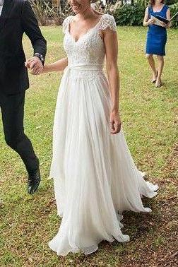 Chiffon Prom Dress,Long Prom Gown,White Prom Dresses