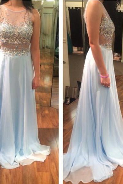 Charming Prom Dress,Chiffon Prom Dresses,Beading Evening Dress,Evening Gown
