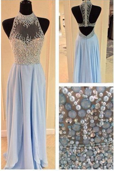 Charming Prom Dress,Blue Chiffon Prom Dress,Long Prom Dresses,Evening Formal Dress,Women Dress
