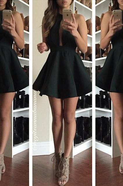 Charming Prom Dress,Short Prom Dress,Black Prom Gown,Sexy Backless Homecoming Dress Party Dress