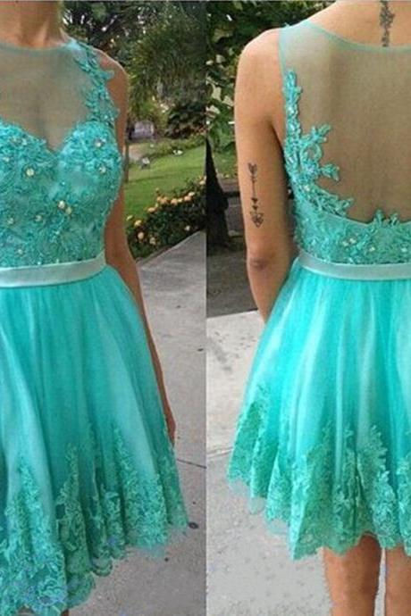 New Arrival Mint Green Girls Homecoming Dress Sheer Lace Prom Party Gowns A-Line Sash Cocktail Gowns