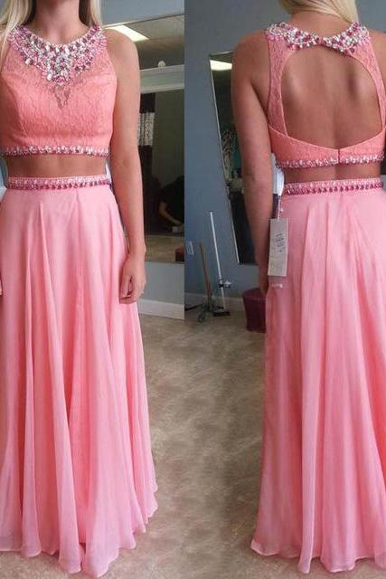 Fashion Prom Dress,Two piece Prom Dress,Pink Beautiful Prom Gown,Floor Length Prom Dresses